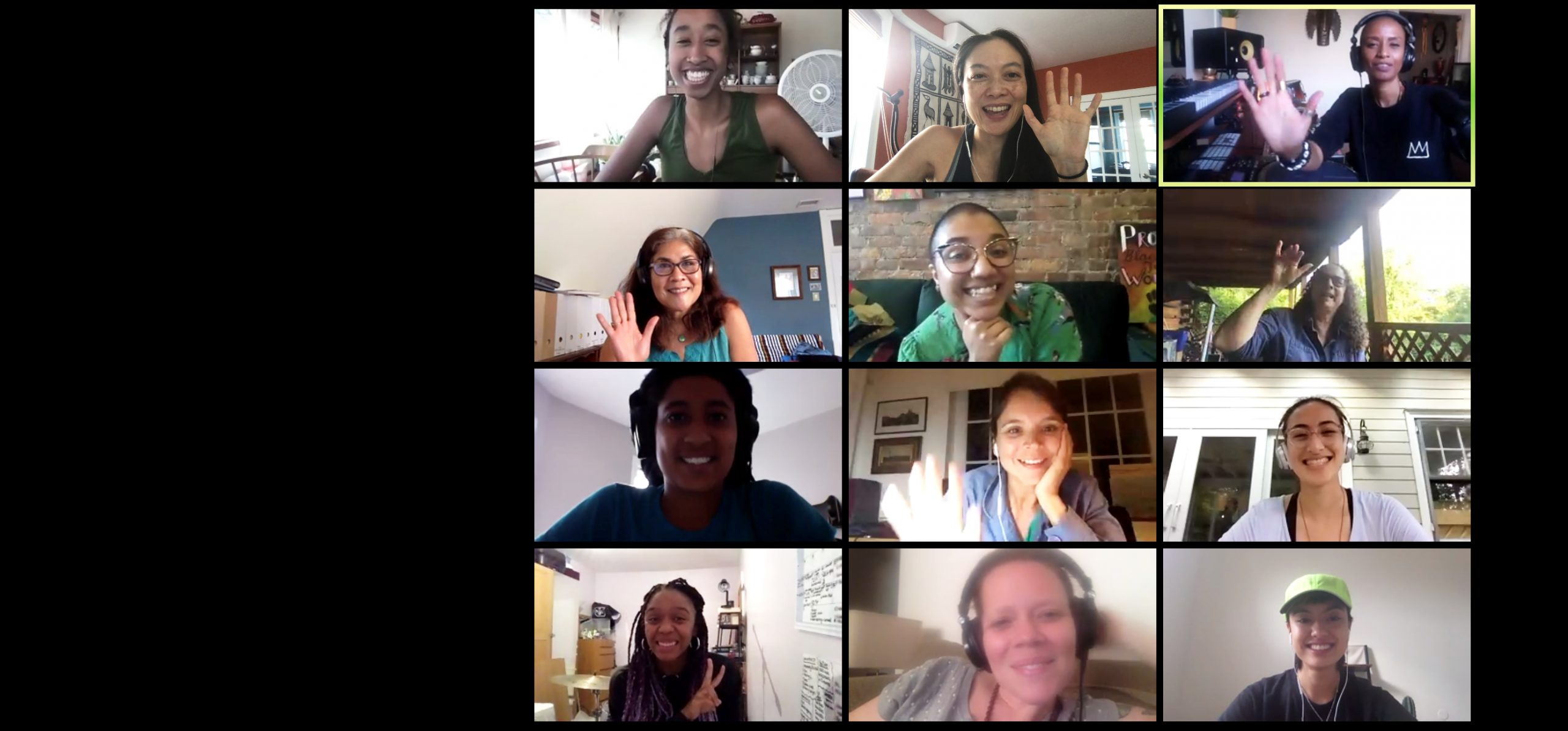 The twelve participating musicians in the M3 initiative during a Zoom meeting.