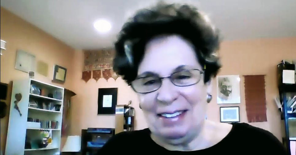 Judith Lang Zaimont at home via Zoom